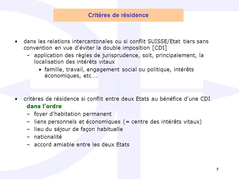 Critères de résidence dans les relations intercantonales ou si conflit SUISSE/Etat tiers sans convention en vue d éviter la double imposition [CDI]
